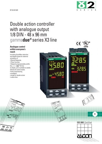 Double action controller with analogue output 1/8 DIN - 48 x 96 mm