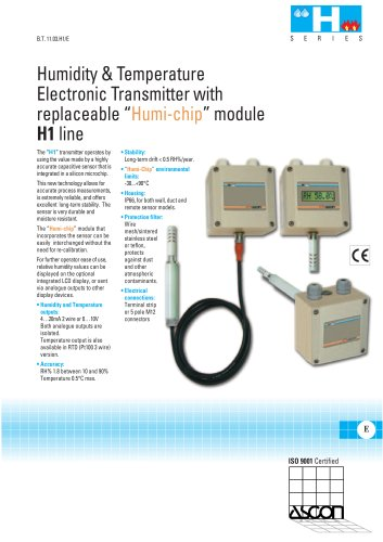 Humidity and Temperature transmitter with replaceable Humi-Chip module - H1 Series