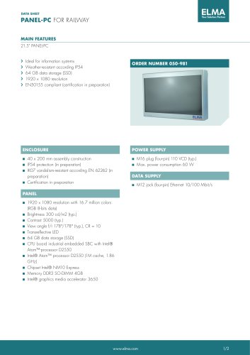 Datasheet Panel-PC for Railway