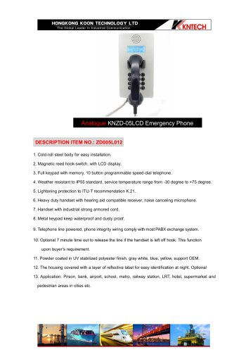 KNZD-05LCD Analogue prison telephone
