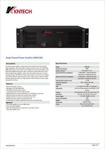 Single Channel Power Amplifier