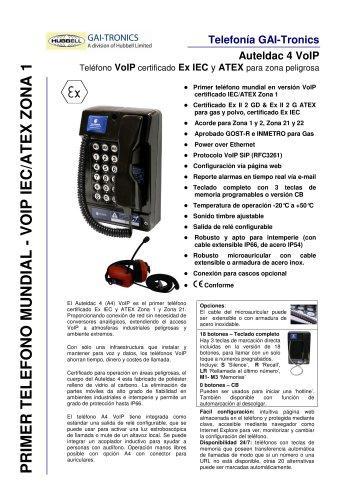 Auteldac 4 VoIP- Teléfono VoIP certificado Ex IEC y ATEX para zona peligrosa