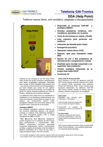 DDA (Help Point)- Teléfono manos libres, anti-vandálico, adaptado a discapacitados