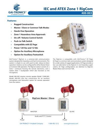 IEC & ATEX Zone 1 RigCom