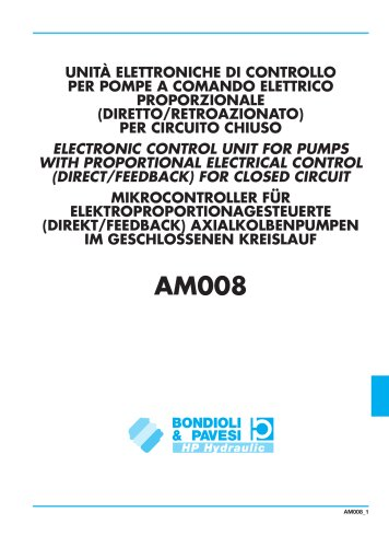 Electronic Control Unit for Pump with Proportional Electrical Control (Direct / Feedback) for Closed Circuit