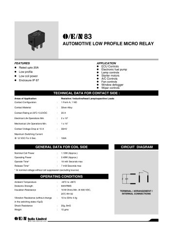Series 83 automotive relay