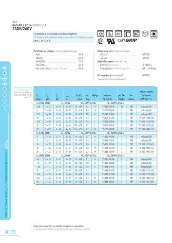 275 MKPg gas filled data charts (English/German)