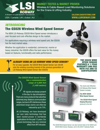 THE GS026 wireless wind speed sensor