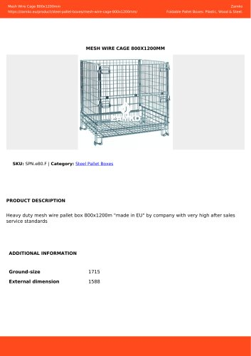 MESH WIRE CAGE 800X1200MM