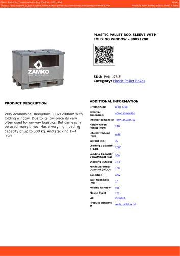 PLASTIC PALLET BOX SLEEVE WITH FOLDING WINDOW - 800X1200