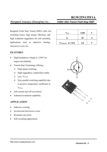 RGW25N135F1A 1350V /25A Trench Field Stop IGBT