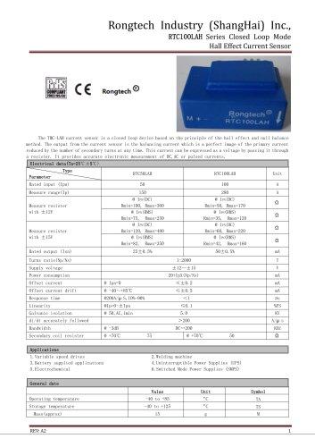 RTC100LAH current sensor