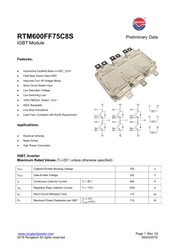 RTM600FF75C8S 3 phase IGBT module