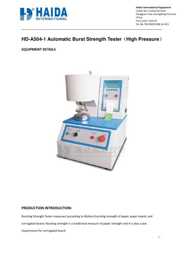 Automatic Burst strength tester