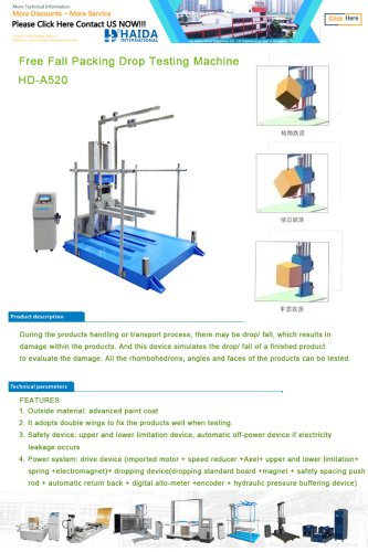 HD-A520 Free Fall Packing Drop Testing Machine
