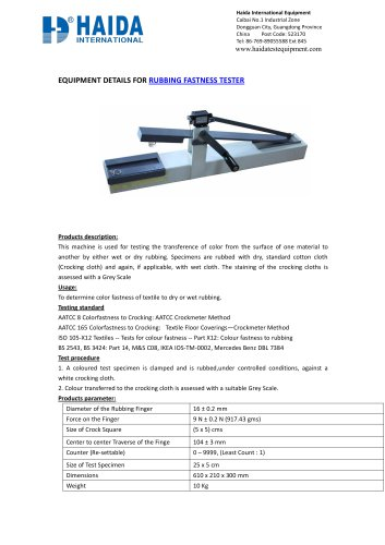 RUBBING FASTNESS TESTER FOR