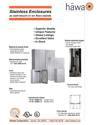Stainless Enclosures as wall-mount or on floor-stands