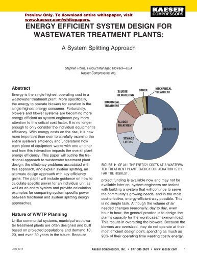 ENERGY EFFICIENT SYSTEM DESIGN FOR  WASTEWATER TREATMENT PLANTS
