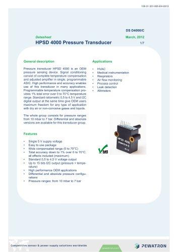 HPSD 4000 Pressure Transducer 1/7