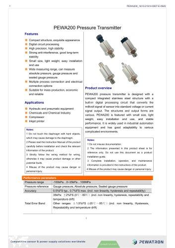 PEWA200 Pressure Transmitter