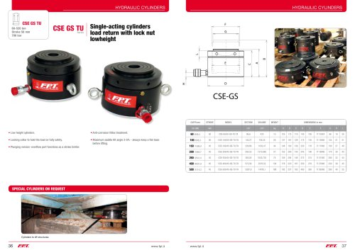 CSE GS TU Series Single-acting cylinders load return with lock nut lowheight