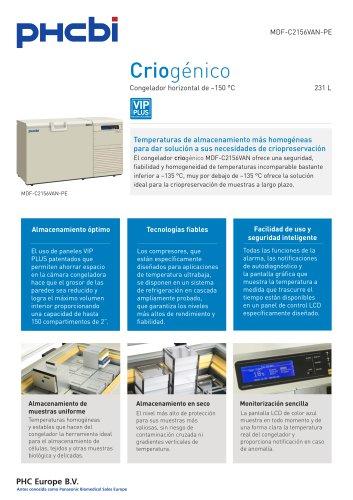 MDF-C2156VAN-PE Congelador horizontal de –150 °C