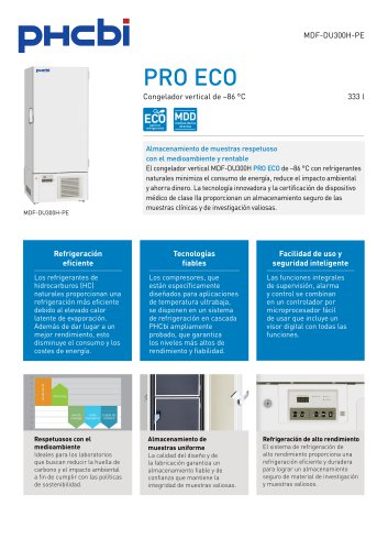 MDF-DU300H-PE Congelador vertical de –86 °C