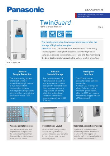 MDF-DU502VX-PE TwinGuard ULT Freezer Product sheet