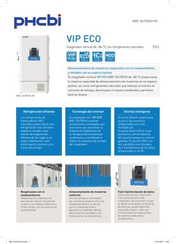 MDF-DU702VH-PE Congelador vertical de –86 °C con refrigerantes naturales