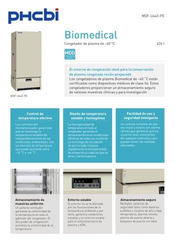 MDF-U443-PE Congelador de plasma de –40 °C