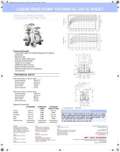 Alpha 14+ Liquid Ring Pump Datasheet