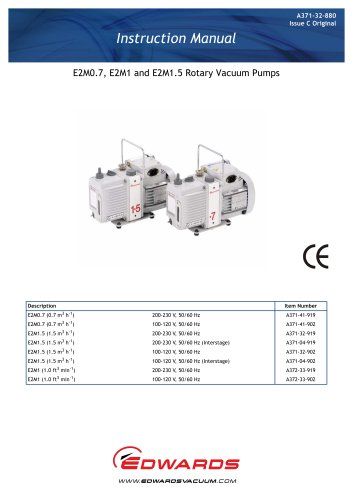 E2M0.7 and 1.5 Oil Sealed Rotary Vane Pumps