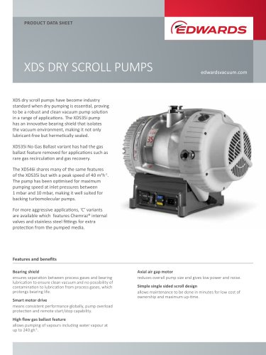 XDS DRY SCROLL PUMPS