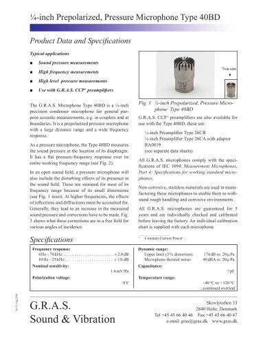 ¼-inch Prepolarized, Pressure Microphone Type 40BD