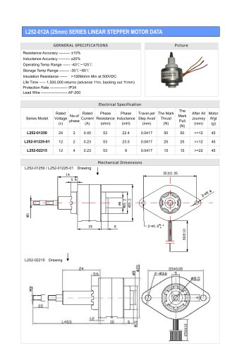 Linear Stepper L252-012A(25mm)