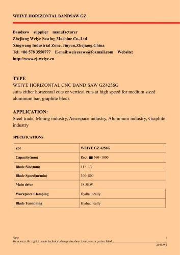 WEIYE HORIZONTAL CNC BAND SAW GZ4256G