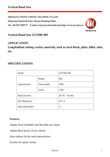 WEIYE VERTICAL BANDSAW GY5380-300