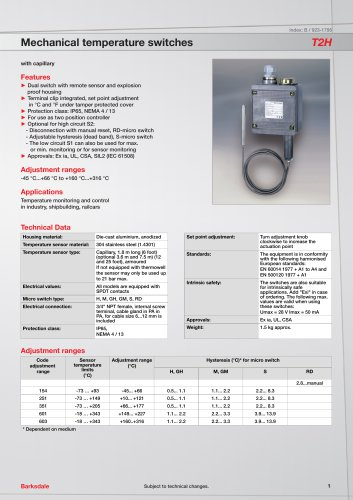 Mechanical temperature switches T2H