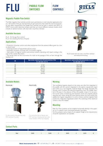 FLU Paddle Flow Switches Riels® Instruments