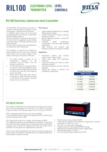 RIL100 Electronic submersion level transmitter Riels® Instruments