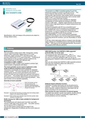 500KSPS 16-bit Analog I/O Unit for USB AIO-163202FX-USB
