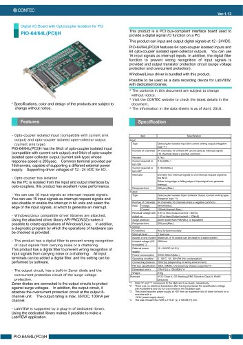 PCI bus 64ch/64ch Digital I/O card (isolated 12 to 24VDC), PIO-64/64L(PCI)H