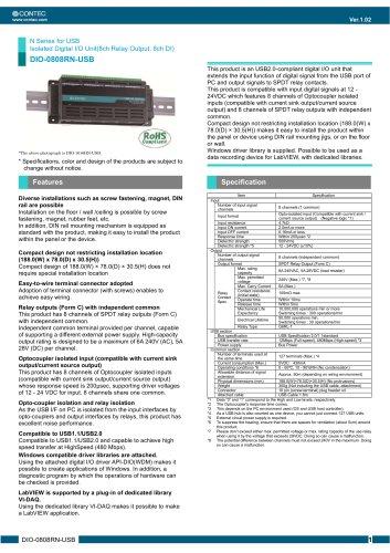 USB DAQ Unit Digital Input 8ch / Relay Output 8ch   DIO-0808RN-USB
