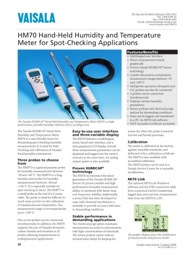Hand-Held Humidity and Temperature Meter HM70