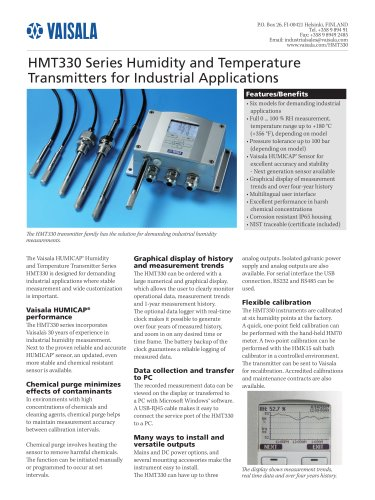 Humidity and Temperature Transmitters for Industrial Applications