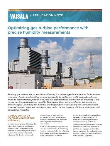 Optimizing gas turbine performance with precise humidity measurements