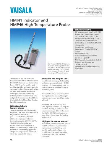 Vaisala HUMICAP® Humidity Indicator HMI41