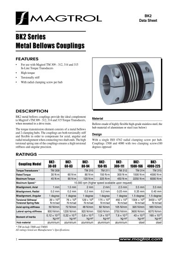 BK2 Series Metal Bellows Couplings