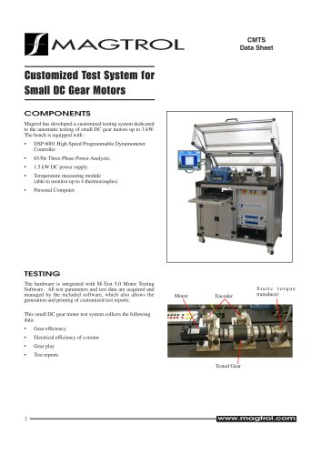 Customized Test System for Small DC Gear Motors