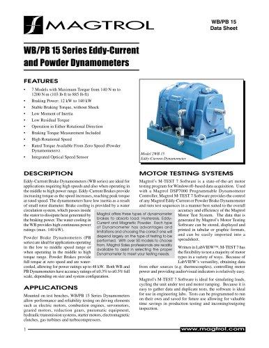 Eddy-current & Powder Brake Dynamometers WB/PB 15